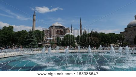 Park and Fountain at the 1.500 Years old Hagia Sophia - Ayasofia - Museum Cathedral - Mosque in Istanbul, Turkey