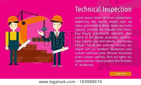 Technical Inspection Conceptual Banner | Great flat icons with style long shadow icon and use for building, construction, public places, station, store, and much more.