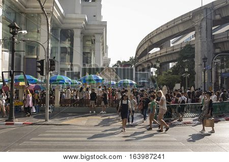 BANGKOK THAILAND - DEC 31 : unidentified people at Erawan shrine while new year festival on december 31 2016 thailand. Erawan shrine is famous place in Ratchaprasong area