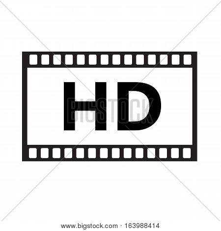 Flat icon of hd video on white background. hd video sign.