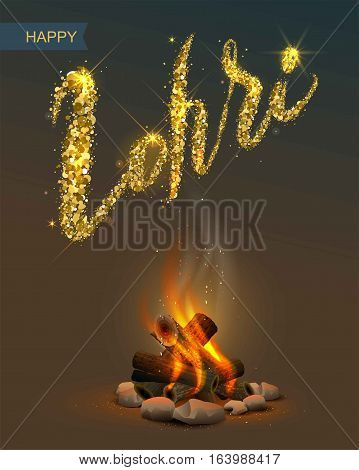 Happy Lohri Punjabi festival. Bonfire on dark background and lettering text. Illustration in vector format