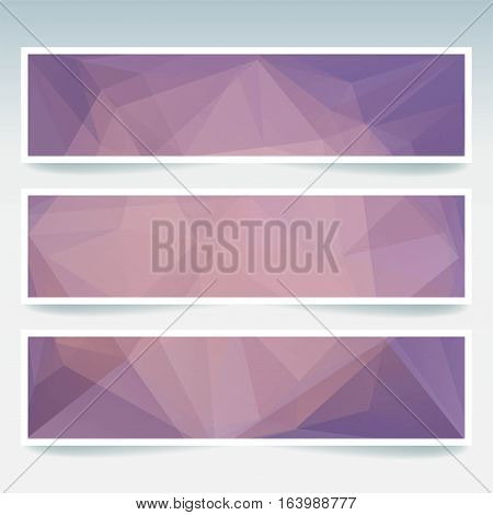 Vector Banners Set With Polygonal Abstract Pink, Orange Triangles. Abstract Polygonal Low Poly Banne