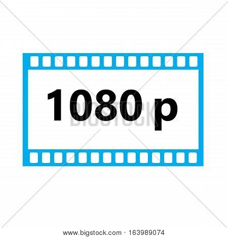 Flat icon of 1080p hd video on white background. 1080p hd video sign.