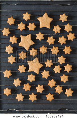 Stars shaped cookies on a cooling rack, top view.