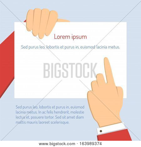 Businessman holds a horizontal blank paper and points a finger at a document. Vector business concept illustration in flat design with text.