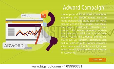 Adword Campaign Conceptual Banner | Great flat icons with style long shadow icon and use for search engine optimization, development , marketing, advertising and much more.