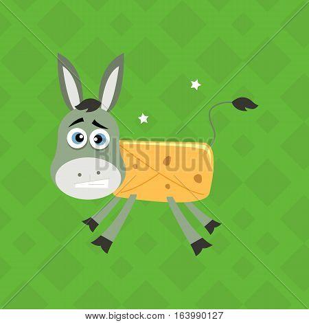 Burrito Loco Donkey Mexican Spanish Food Illustration