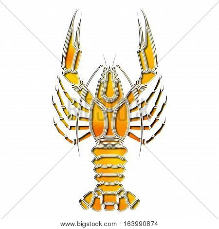 Bright colorful crayfish, zodiac Cancer sign for astrological predestination and horoscope