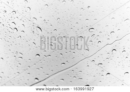 Water Drops On Glass After Rain For Background