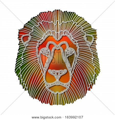 Bright colorful lion head, zodiac Leo sign for astrological predestination and horoscope
