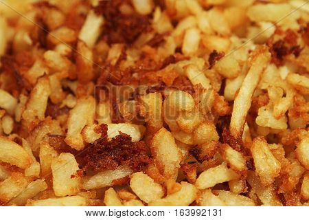 Chips french fries, deep fried in oil until very crispy