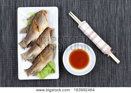 Deep Fried Small Snapper With Bean Sauce.