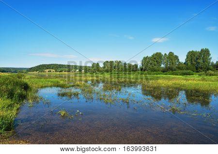 Chusovaya river on a Sunny summer day. Russia. Ural