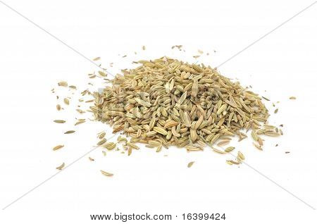 A pile of jeera (cumin seeds) isolated on a white background poster