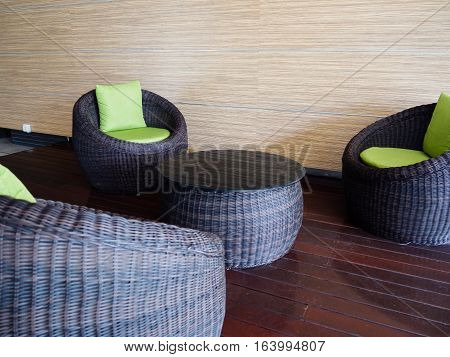 Patio Furniture set with green pillow set