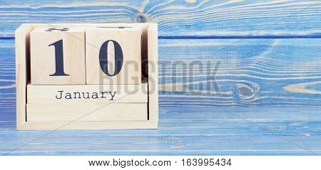 Vintage Photo, January 10Th. Date Of 10 January On Wooden Cube Calendar