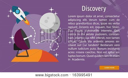 Discovery Conceptual Banner | Great flat illustration concept icon and use for space, universe, galaxy, astrology and much more.