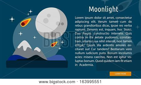 Moonlight Conceptual Banner | Great flat illustration concept icon and use for space, universe, galaxy, astrology and much more.