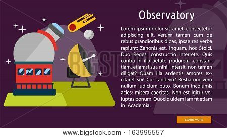 Observatory Conceptual Banner | Great flat illustration concept icon and use for space, universe, galaxy, astrology and much more.