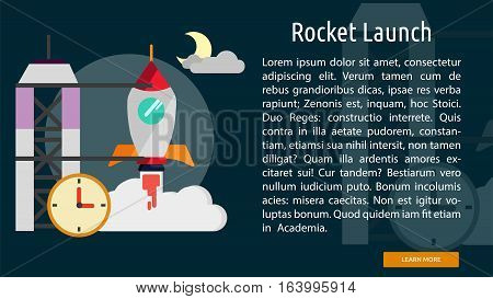 Rocket Launch Conceptual Banner | Great flat illustration concept icon and use for space, universe, galaxy, astrology and much more.