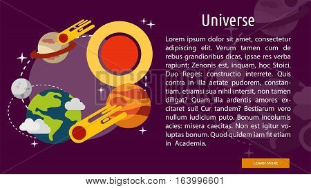 Universe Conceptual Banner | Great flat illustration concept icon and use for space, universe, galaxy, astrology and much more.