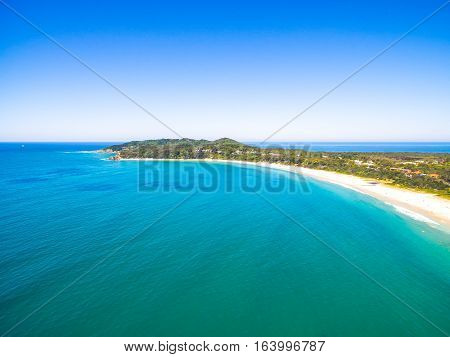 An aerial view of the Byron Bay coastline