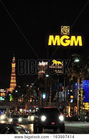 VEGAS NEVADA USA - January 11th 2016: MGM panel sign in Vegas Strip during night. Paris Hotel is in background
