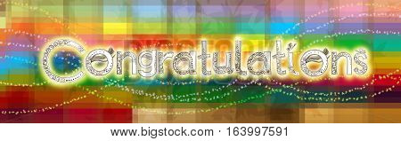 Congratulations font is hand draw design with applied art squares and butterflies For your celebration greeting card.