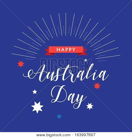 Happy Australia day 26 January inscription poster with stars, red ribbon, sunburst on blue background. Greeting card design. Vector illustration.
