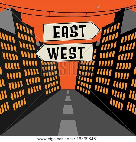 Road sign with opposite arrows and text East - West vector illustration