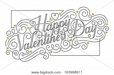 Happy Valentine s Day card. Hand drawn calligraphic inscription with swirls and golden hearts. EPS10 vector illustration.