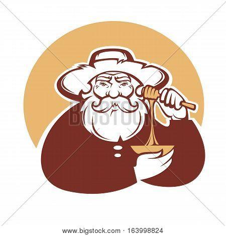 grandpa honey vector portrait of old man for your logo