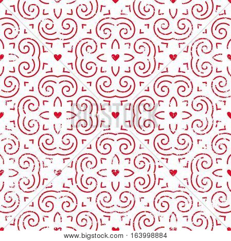 Seamless pattern with hearts in red. Retro background for Valentines Day, wedding, etc. EPS10 vector illustration.