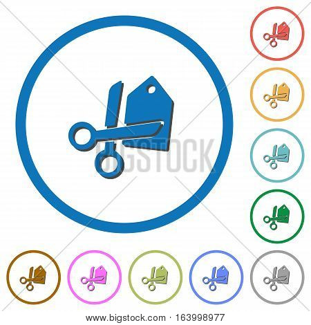 Price cut flat color vector icons with shadows in round outlines on white background