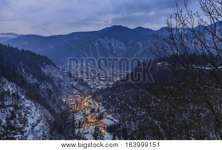 Borjomi from the height of the nearby mountains in winter. Georgia