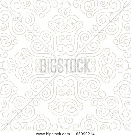 Silver vintage seamless wallpaper. Line art pattern with grunge texture. EPS10 vector illustration.