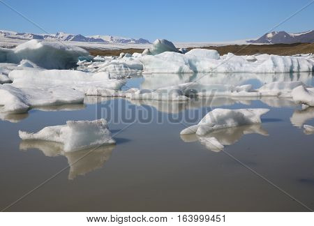 Glacier and Icebergs in Jokulsarlon Lagoon. Iceland