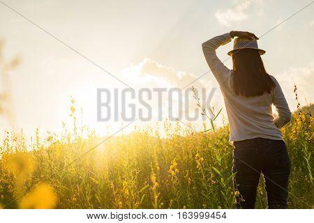 Portrait Of Happy Beautiful Happy Youngwoman Relaxing In Park. Joyful Female Model Breathing Fresh A