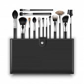 Vector Set of Black Clean Professional Makeup Concealer Powder Blush Eye Shadow Brow Brushes with Black Handles and Leather Case Isolated on White Background poster