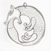 pendant sketch hand drawn by lead pencil - fox biting its tail in Scythian style poster