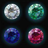 Set ruby sapphire emerald diamond. Vector illustration poster