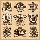 Set of vector wild west logos, badges with cowboy and attributes of the wild west isolated on white poster