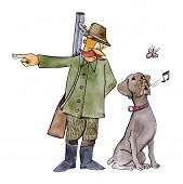 humorous illustration of retriever dog on hunting poster