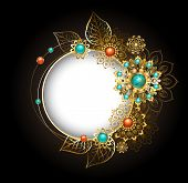 Round jewelry banner decorated with jewelery gold and bronze ornaments in ethnic style with turquoise and jasper on a dark background. Jewelery in boho style. poster