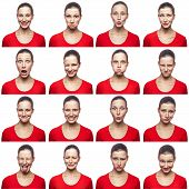 Mosaic of woman with freckles expressing different emotions expressions. The woman with red t-shirt with 16 different emotions. isolated on white background. studio shot. poster