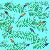 parrots and palms scattered on background tropic design poster