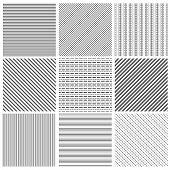 Geometric line pattern set. Parallel streep black diagonal lines patterns vector illustration. Set of geometric line backgrounds poster