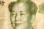 Face of Mao leader of China on a banknote of Chinese Yuan, as a symbol of modern economy poster
