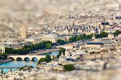 Scenic view from the top of the Eiffel Tower. Paris France. Miniature tilt shift lens effect. poster