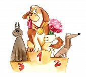 humorous illustration of dogs on exhibition podium poster